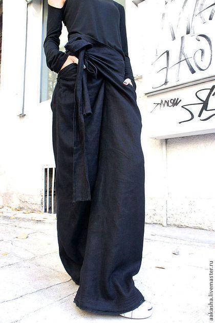 Брюки, шорты ручной работы. Ярмарка Мастеров - ручная работа. Купить Свободные черные льняные брюки. Handmade. Брюки