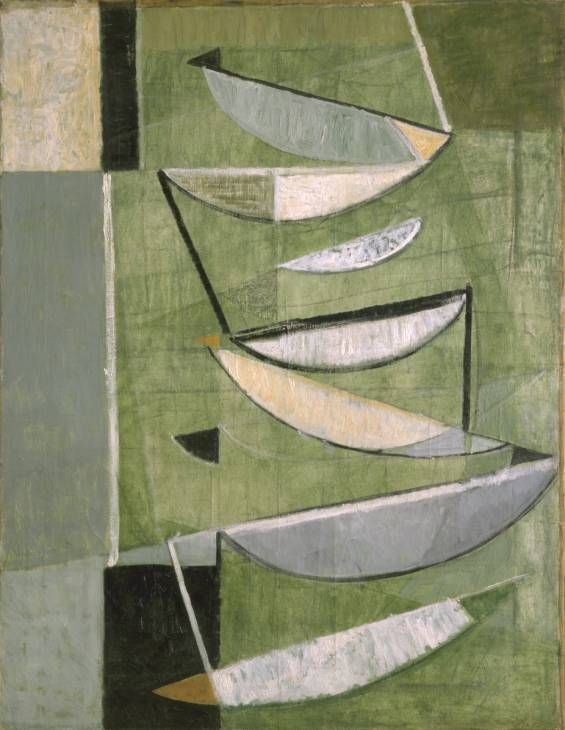 'Green, Black and White Movement' (1951) by British Abstract painter Sir Terry Frost (1915-2003). oil on canvas, 1092 x 851 mm. via the Tate