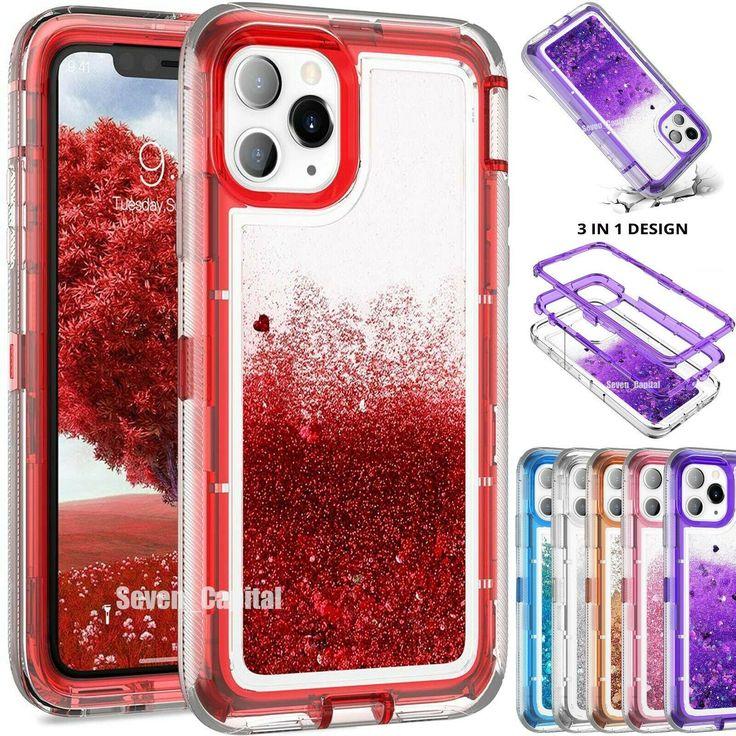 For iphone 11 pro max defender liquid glitter shockproof