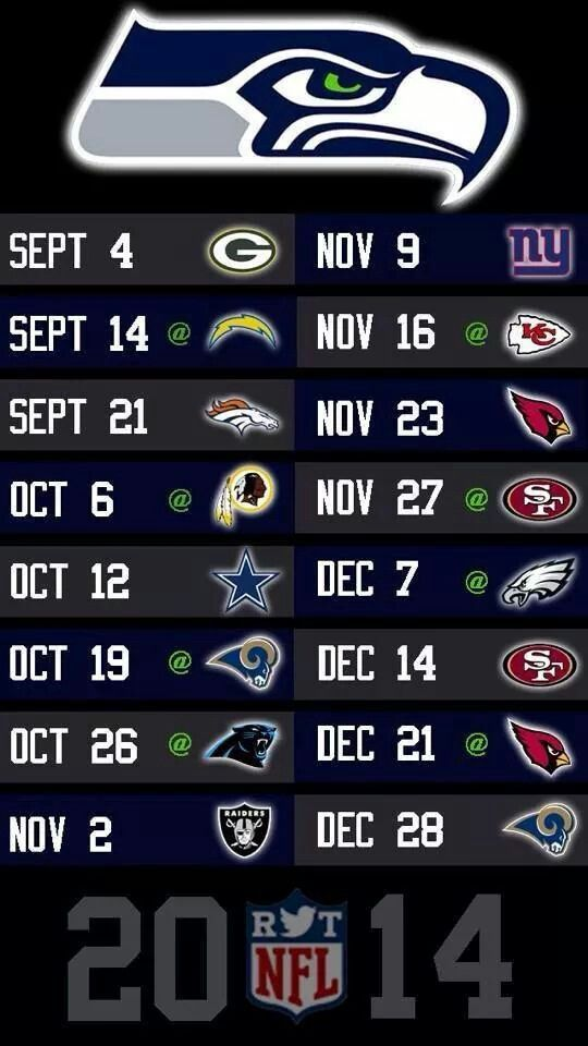 2014 schedule.... Hope the packers beat the seahawks but otherwise... #win!!