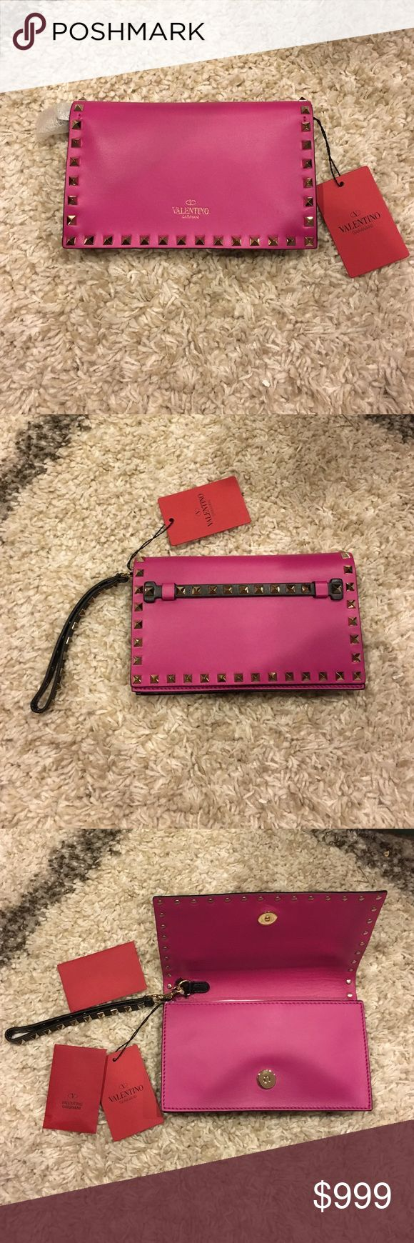 Valentino Fushia/Black small Rockstud clutch Gorgeous, brand new, never used.  Has all tags and dustbag (not pictured).  2 inside pockets.  Supple buttery leather.  Total statement piece.  NO LOWBALLING.  Can do a little better off posh if interested.  NO Trades.  Also pics demonstrate shadows.  No dents.  Pristine! Valentino Bags Baby Bags