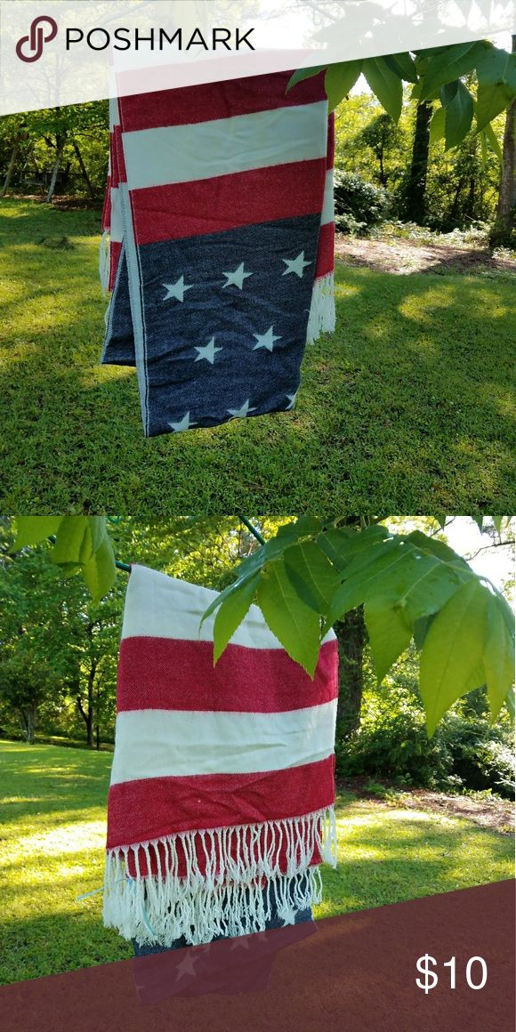 Large American Flag shawl/scarf Large American Flag shawl/scarf Forever 21 Accessories Scarves & Wraps
