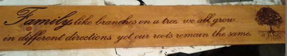 Check out this item in my Etsy shop https://www.etsy.com/listing/216957501/wood-burned-family-quote