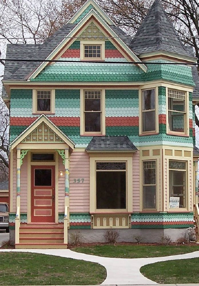 Dark medium light greens with rust cream tan pink for 3 color exterior paint schemes