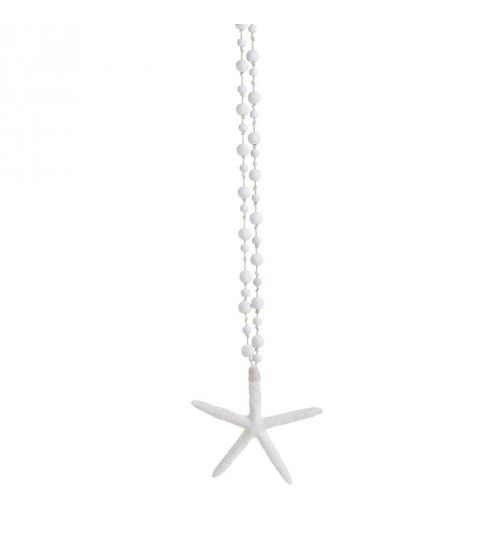 POLYRESIN HANGING STARFISH IN WHITE COLOR 11X2_5X11