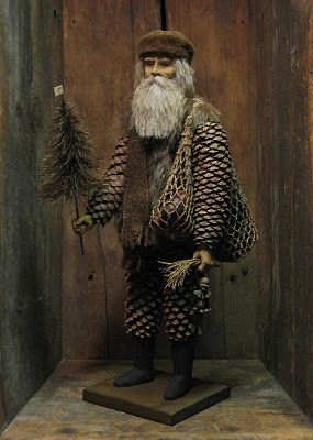 La Pouyette....Pinecone Santa, based on an illustration from Dec.1867 Harper's Bazaar by Daryl McMahon