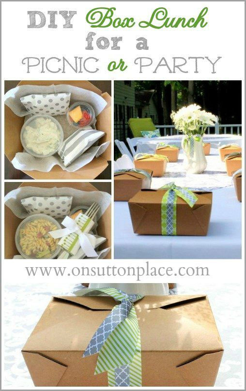 DIY Box Lunch for a Picnic or Party - Details and sources provided! or great for lunch at meetings when you don't want people to stray away