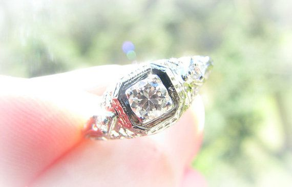 RESERVED, Intricate Engagement Ring, Fiery European Cut Diamond, Fancy Filigree, 18K and 14K White Gold, Edwardian to Art Deco