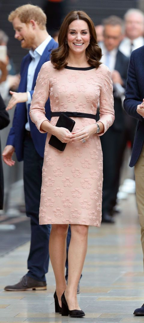 58f5a6f750 The Duchess of Cambridge wore an Orla Kiely raised flower fitted dress from  the brand's 2013 collection for a children's charity event in London.