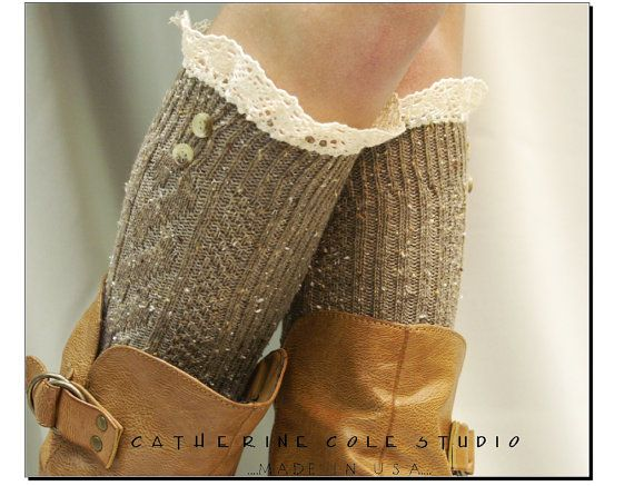 Oatmeal Nordic Lace Boot Sock Something by CatherineColeStudio