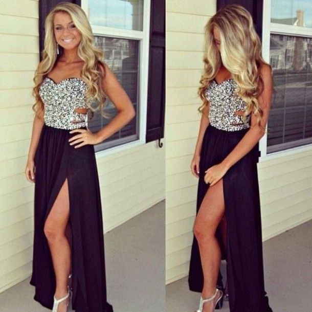 Black Prom Dresses,Split Prom Dress,Chiffon Prom Dress,Long Prom Dresses,Sweetheart Formal Gown,Slit Evening Gowns For Teens