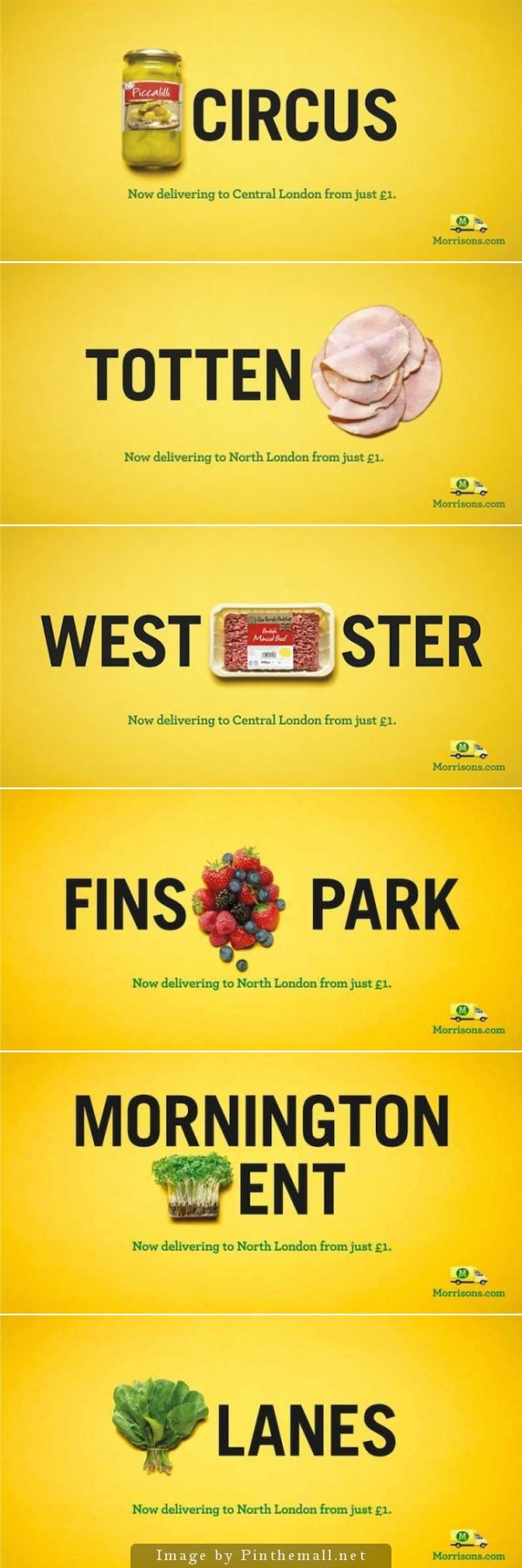 UK's fourth largest supermarket chain, Morrisons, has launched a pun-tastic OOH campaign via DLKW Lowe promoting Morrisons.com home delivery service now available for Londoners. Their brilliant campaign uses food products into the names of seven famous London areas such as Piccadilly Circus, Tottenham and Westminster. The campaign will not only appeal to Morrisons' loyal customers, but also to any pun lovers out there.