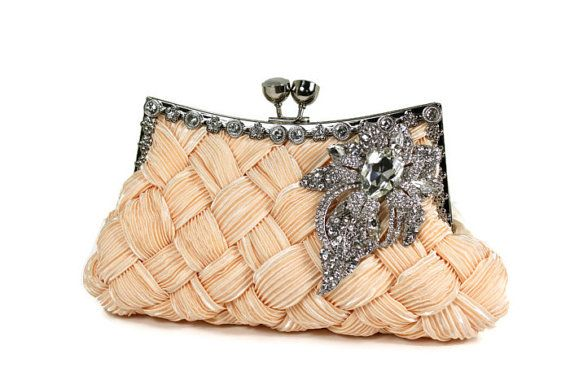 Bridal Clutch Soft Peach Bridal Clutch by WhiteAisleBoutique, $76.00