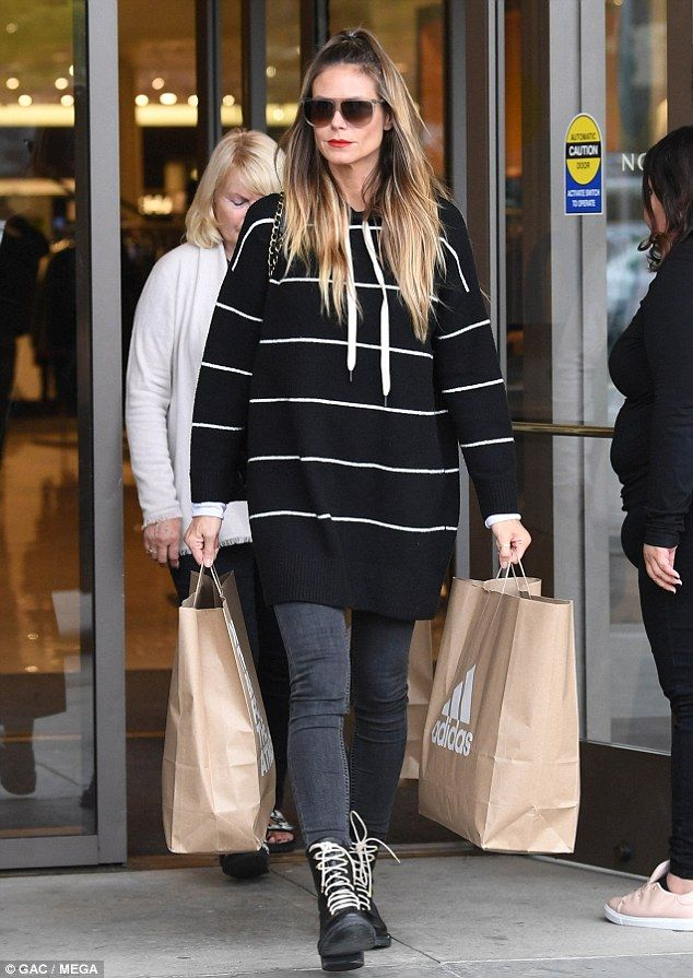 Leading lady: Heidi Klum proved her supermodel credentials on Monday, as she enjoyed a shopping trip with her daughter Lou in California
