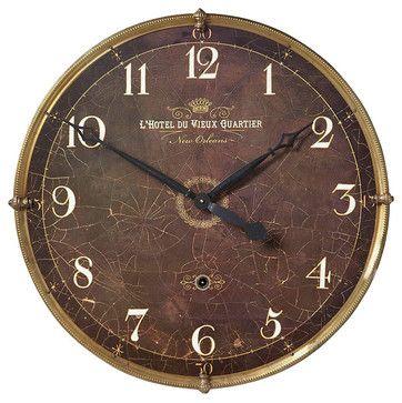 Hotel Du Vieux Quartier Wall Clock - transitional - Wall Clocks - Bliss Home & Design