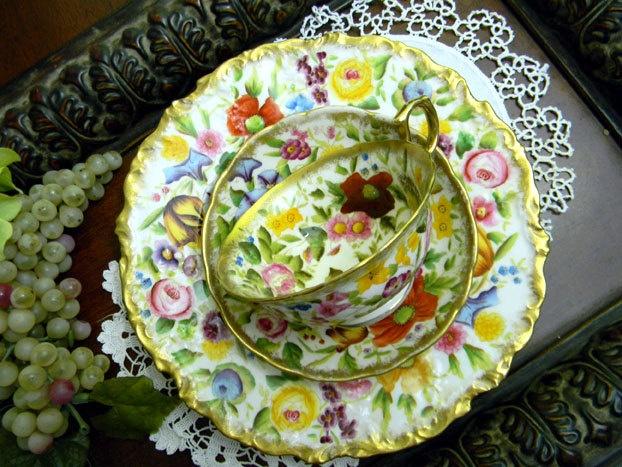 c1891-1932 Antique Teacup Tea Cup Trio - Ovington - Hammersley Chintz -