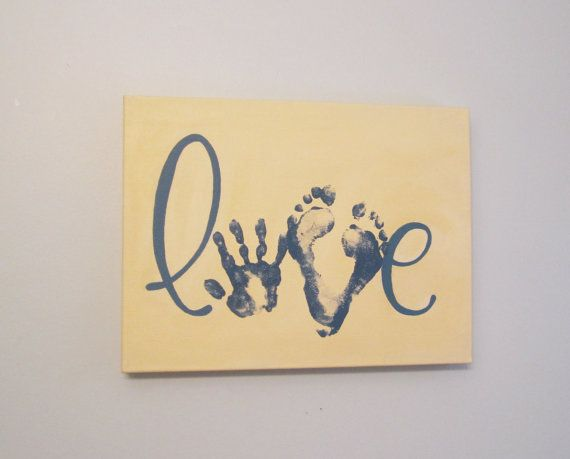 Any Color Love Handprint and Footprint Canvas by SnowFlowerArts