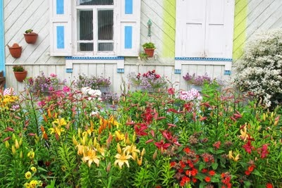 Russian flowers and house