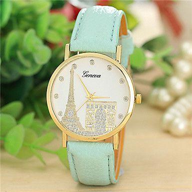 reloj de estilo de moda de cuero ginebra cuarzo muñequera análogos de las mujeres (colores surtidos) – EUR € 7.99