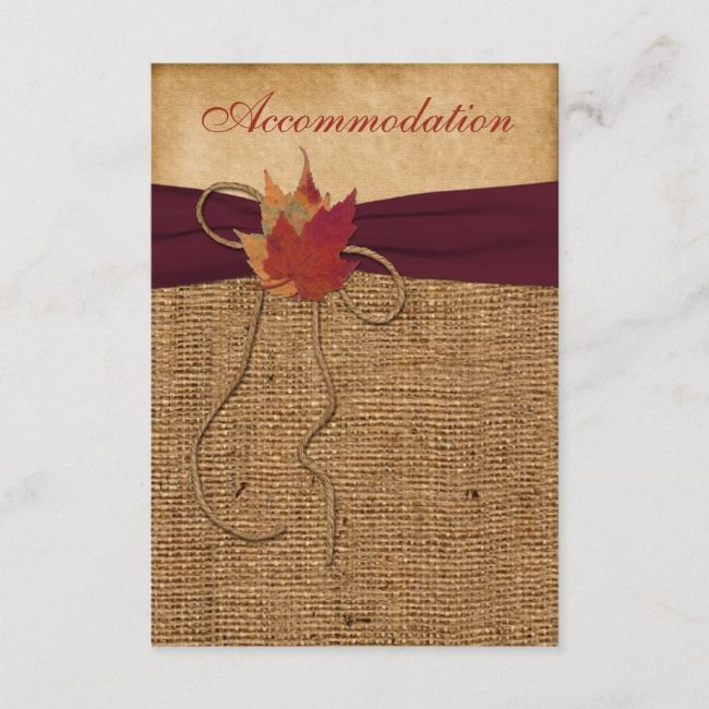 e1e7401c0d8 Autumn Leaves, FAUX Burlap Enclosure Card - Wine | Zazzle.com in ...