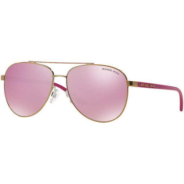 Michael Kors Mk5007 59 Hvar Rose Gold Aviator Sunglasses ($125) ❤ liked on Polyvore