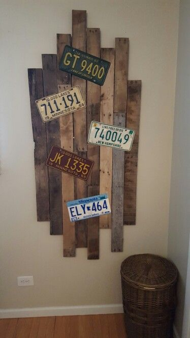 Pallet wood with my vintage license plates. Rustic and old ☺