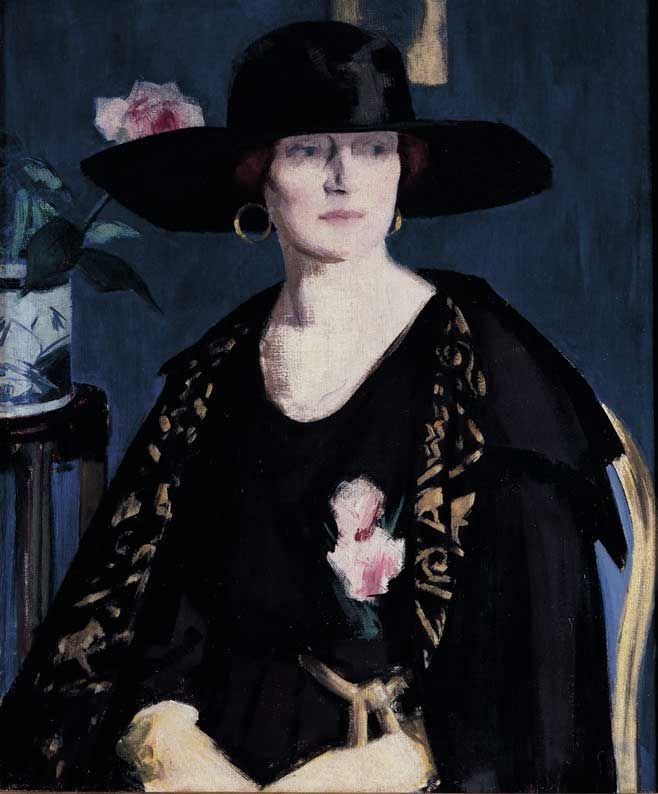 F C B Cadell | A Lady in Black and Gold