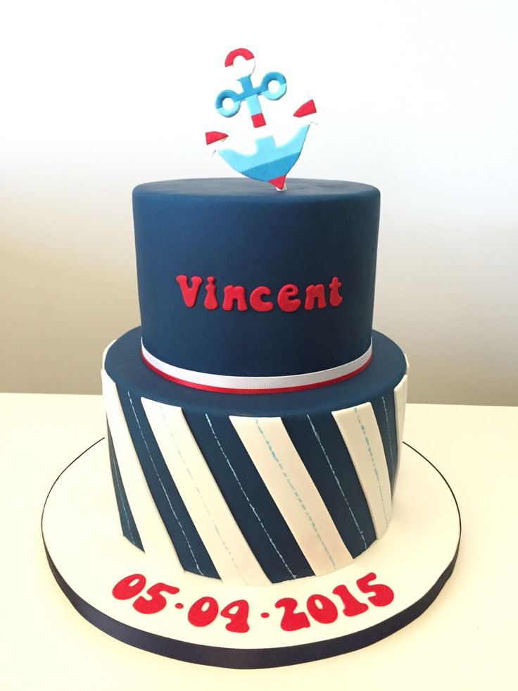 A nautical cake for a little boys baptism! The design matches the invite so well! :)