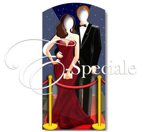 Sagoma Coppia sul Tappeto Rosso - Prodotti per Addobbi per Feste - Photo Booth - accessori e gadget per matrimoni e feste - E-speciale