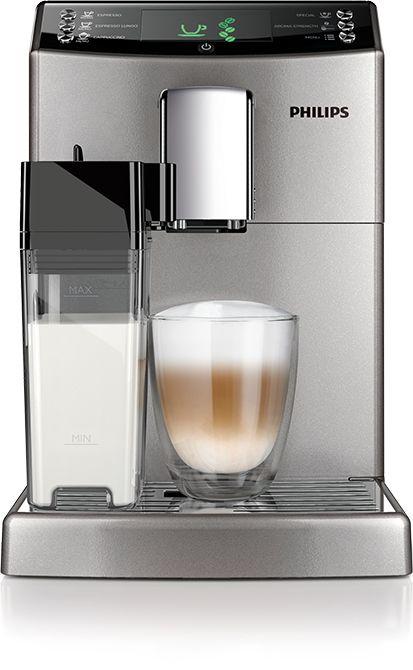 Philips HD8834/11  Philips HD8834/11 3100 Serie: Volautomatische espressomachine met melkbeker De Philips HD8834/11 is een zeer breed inzetbare machine met eenvoudige bediening. De geïntegreerde melkbeker zorgt er voor dat jij altijd een perfecte cappuccino bereidt zonder ingewikkelde handelingen.Je stelt met gemak de maalgraad in net als de hoeveelheid sterkte en temperatuur.De HD8834/11 kun je dus helemaal naar jouw hand laten werken zodat jij altijd de perfecte koffie krijgt.En dankzij de…