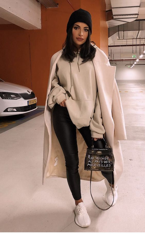 Leather pants, overcoat and hat