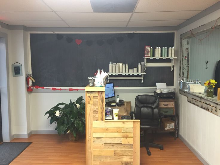 Reception Desk Pallet Wood Chalkboard Be You Tiful Salon