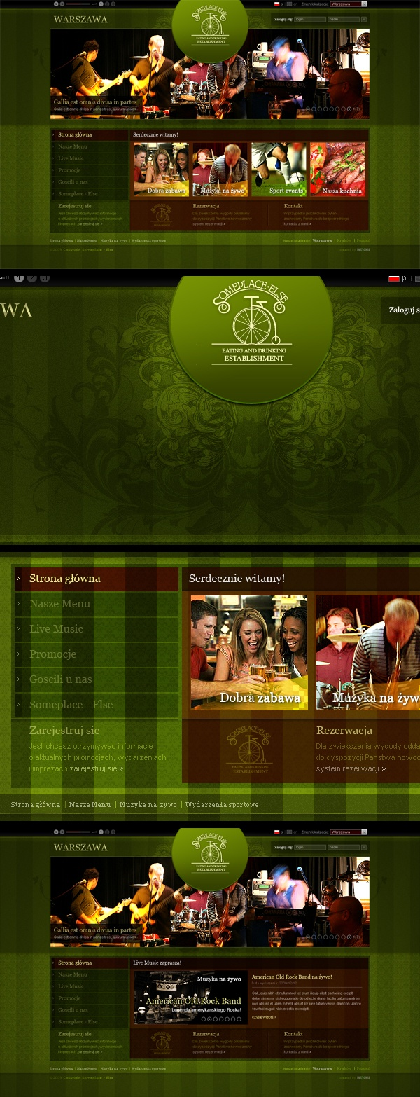 Some Place Else - that is an unusual chain of luxury pubs with some perfect food, live music and sport transmissions there. Located in Starwood's Sheraton Hotels in many places of Poland like Krakow, Warsaw, Poznan and more. The site was designed as a flash an css hybrid. #webdesign #someplaceelse #lodowski
