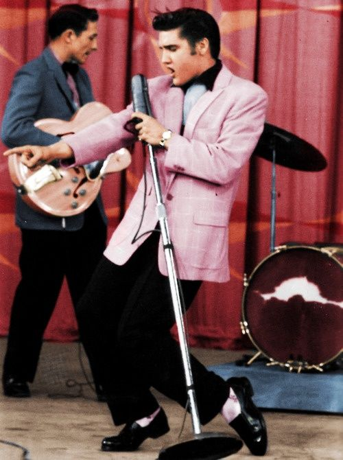 Elvis performing Hound Dog on the Milton Berle show on June 5th 1956.  Conservative American Adults were outraged by the performance and Elvis took a lot of heat over it, but he kept ROCKIN'                                                                                                                                                      More