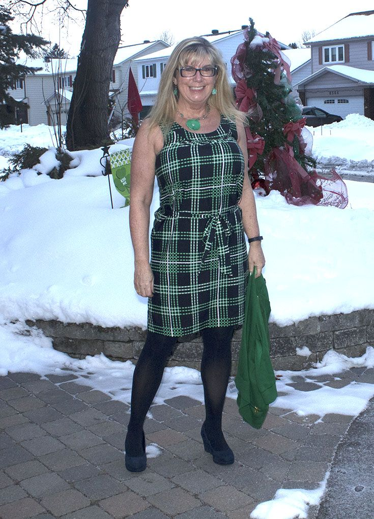 Banana Republic Green and Navy Plaid Dress  and navy wedges