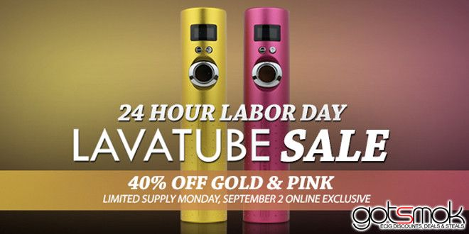 This Labor Day will go down in history. It's gonna be the first time that the Volcano E Cig Lava Tube will go on sale! =) More specifically, save 40% off devices or $30 off starter kits. There are some catches though... http://gotsmok.com