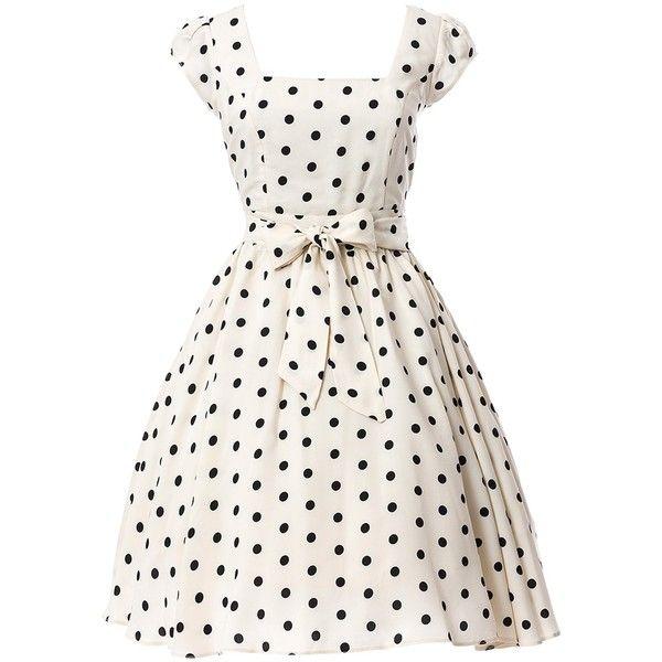 White Black Polka Dot Swing Dress ($56) ❤ liked on Polyvore