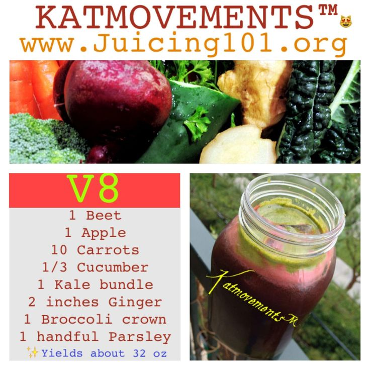 Juicing Vegetables & Fruit  ⭐V8 Juice Recipe⭐  I realize apples are not vegetables, but then again-- neither are tomatoes!  1 Beet  1 Apple  10 Carrots  1/3 Cucumber  1 Kale bundle  2 inches Ginger  1 Broccoli crown  1 handful Parsley  To Your Health! Kat =^.^=  http://www.facebook.com/JUICING101