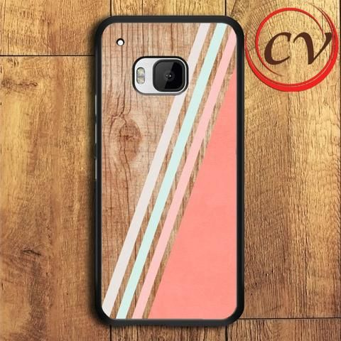 Wood Chevron Geometric Stripe HTC One M9 Black Case