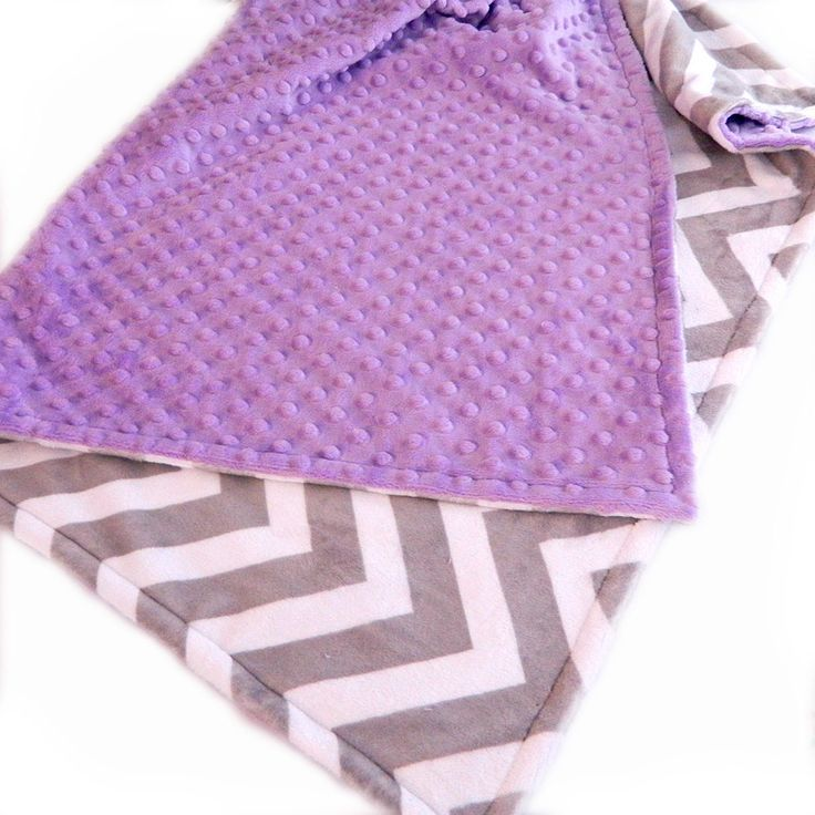 Personalized Silver and White Chevron and Lilac Minky Baby Blanket  - Purple & Gray Nursery Theme - Sewing Dreams Blankets
