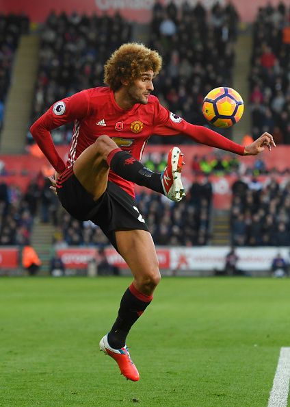 Marouane Fellaini of Manchester United controls the ball during the Premier League match between Swansea City and Manchester United at Liberty...