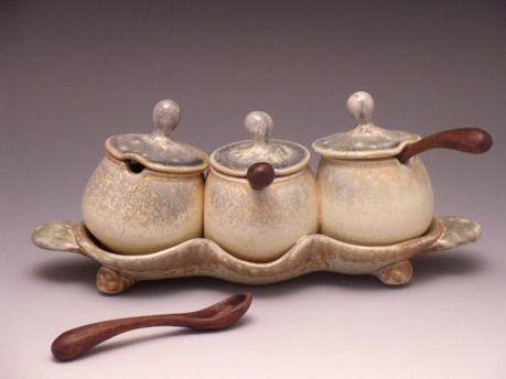 Jake Johnson  |  Salt-fired condiment service, with hand-carved wood spoons.