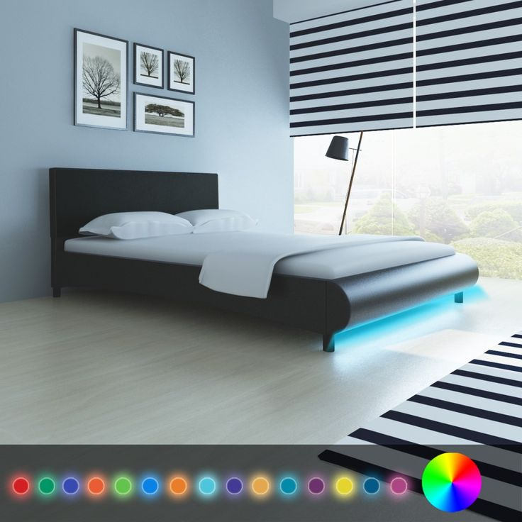 4ft6 Double Bed Frame with Slats Black Faux Leather Bed Multicolored LED Lights