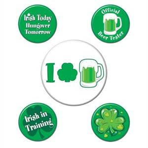For Fun: BUTTONS ST PATRICK'S DAY ASSORTED DESIGNS (3.3CM - 5.8CM) - PACK OF 5  #stpatricksday #office #badge
