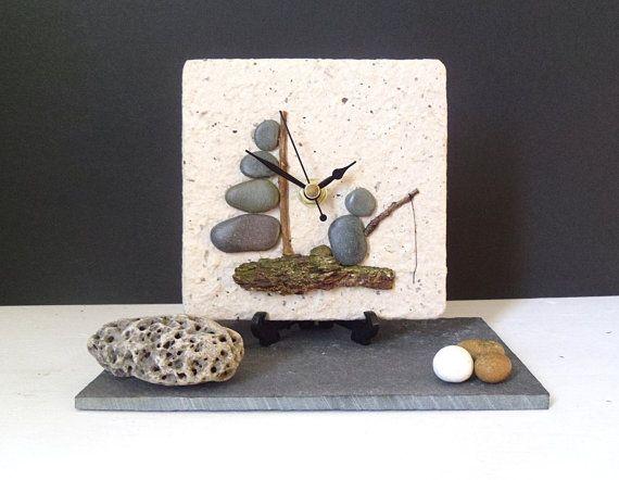 Pebble Desk Clock Small Wall Clock  Beach by NaturalClocks on Etsy, £12.00