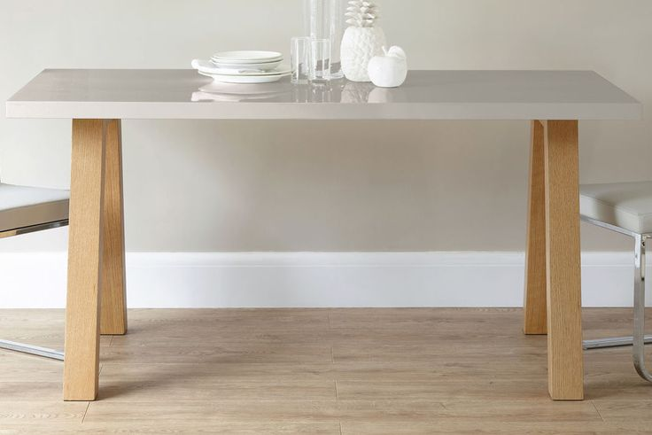 Zen 6 Seater Grey Gloss and Oak Dining Table from the Exclusively Danetti with Julia Kendell Range.