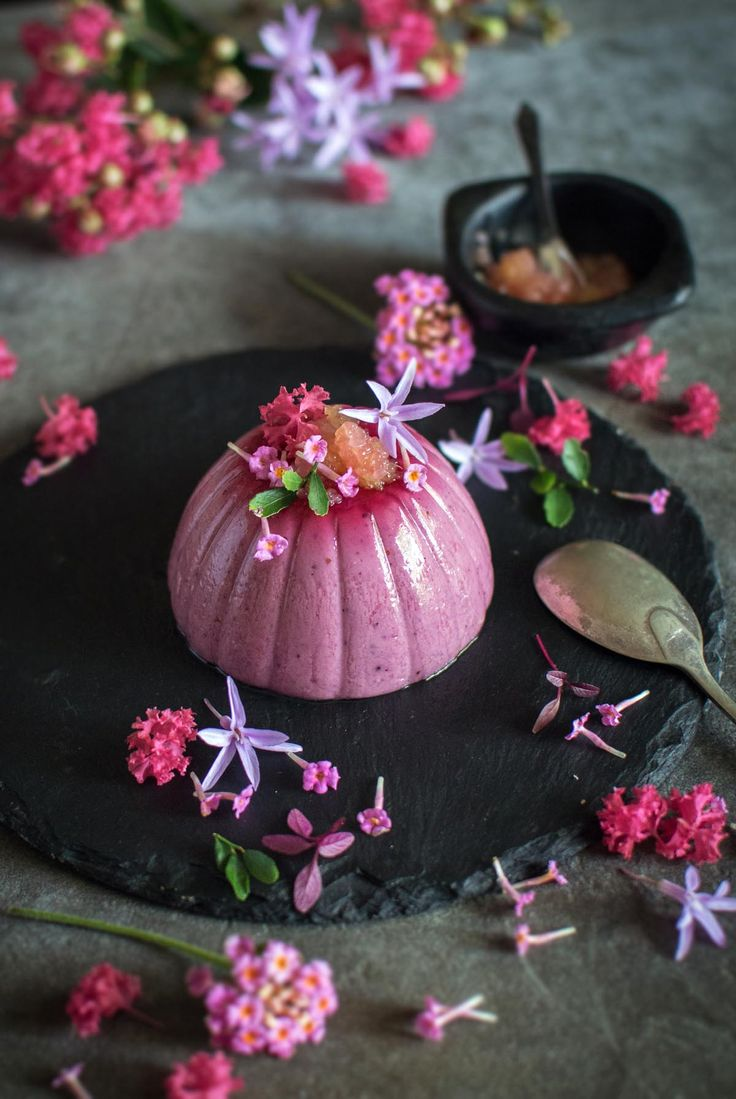 Davidson's plum panna cotta with charred finger lime | heneedsfood.com
