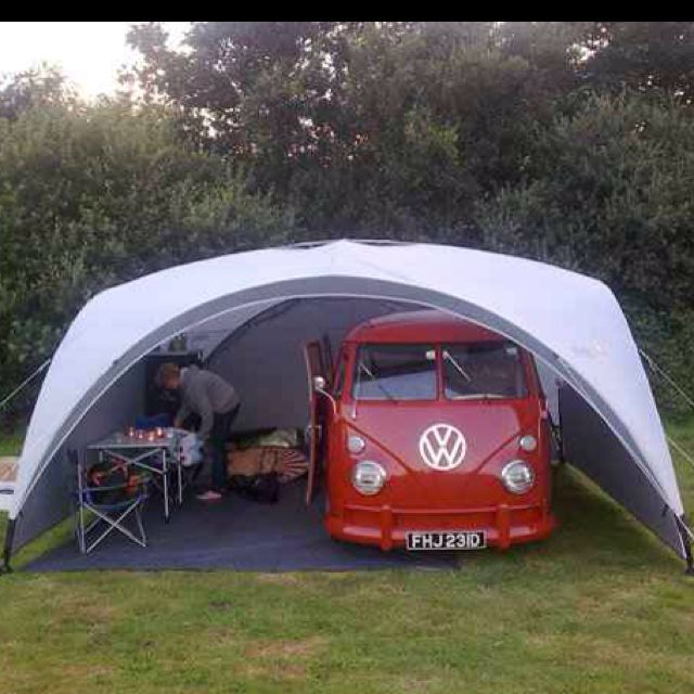 Love this!!!! This is his perfect camping setup!! What a gorgeous Bus! A Great idea for living with your Campervan out and about! #VWCampervanTent
