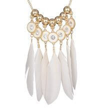 White Feather Long Pendant Necklaces Summer Style Gold Beads Shiny Rhinestone Fashion Design Jewelry Costume Bohemia Necklace(China (Mainland))