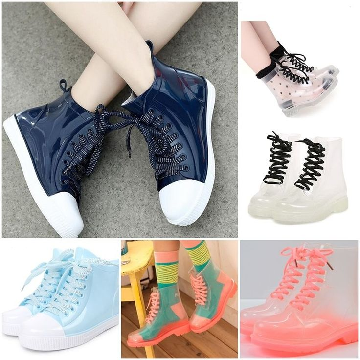 Fashion Women Clear Jelly Rain Boots Lace Up Low Ankle Flat Rubber Wellies Shoes